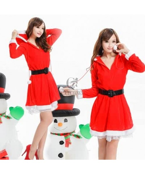 Red Women's Christmas Costume Party Dress with Hooded Long Sleeve Uniform