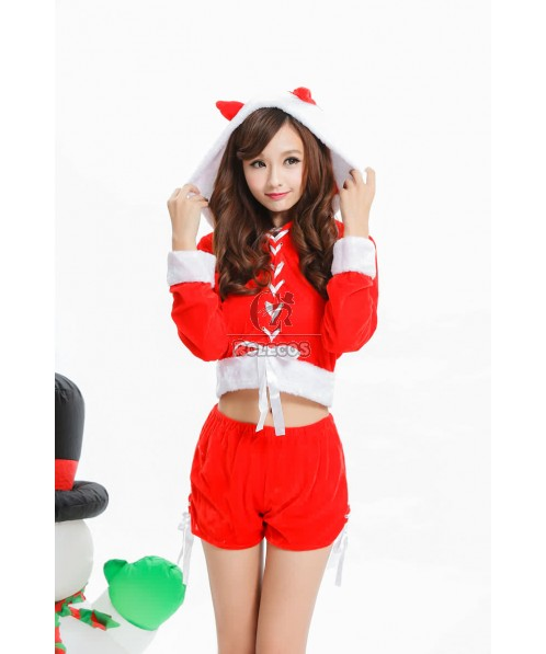 Red Long Sleeve Women's Christmas Costume Three Pieces Uniform with Foot Set