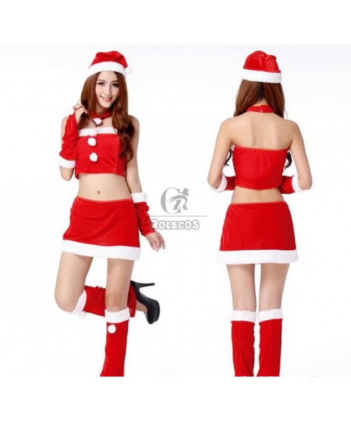 Red Women's Christmas Costume Party Skirt Suit Uniform with Hat Gloves Foot Set