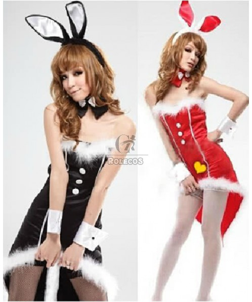 Charming Bunny Girl Women's Christmas Costume Party Dress with Headwear