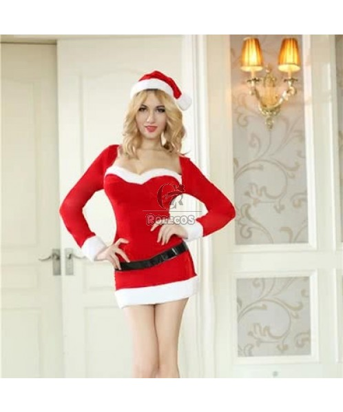 2015 New Arrival Red Women's Christmas Costume Long Sleeve Party Dress with Hat