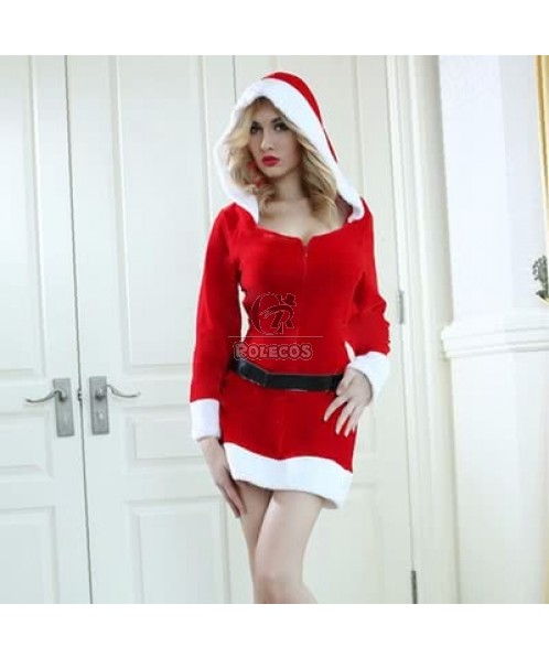Mrs Santa Claus Costume Long Sleeve Party Dress with Hat