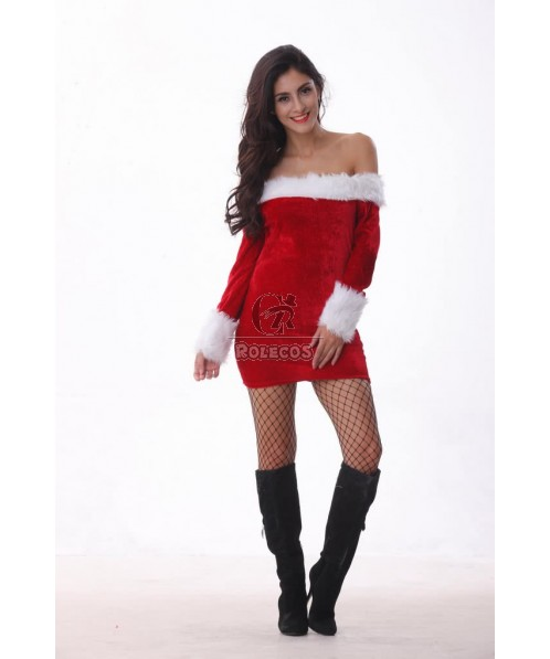 Red Charming Women's Christmas Costume Slash Neck Party Dress