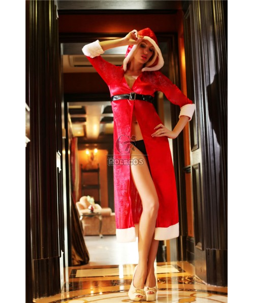 Red Women's Christmas Costume Long Style Party Dress with Hooded and Belt
