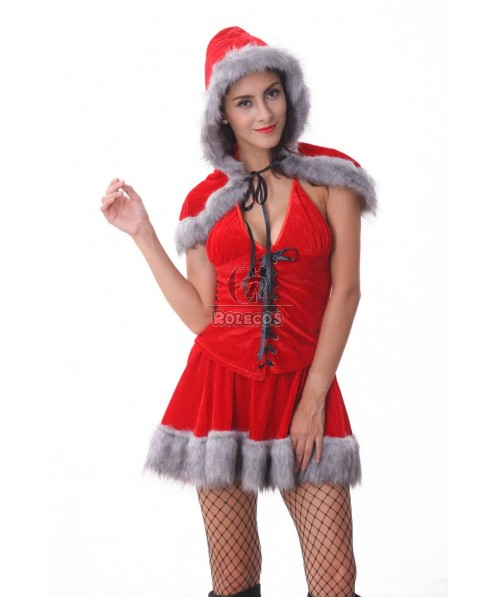 Cute Red Women's Christmas Costume Sleeveless Party Dress with Cape Hat