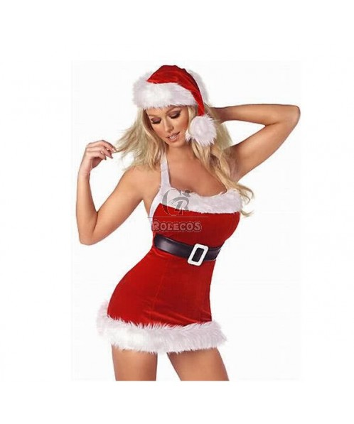Fashion Red Women's Christmas Costume Party Brace Dress with Fur Hat
