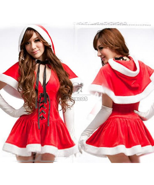 Fashion Red Mrs Santa Claus Costume Party Dress with Fur Hat
