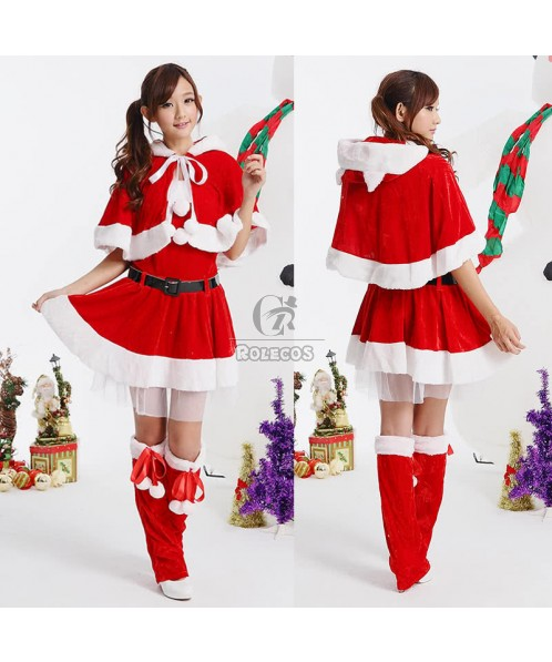 Graceful Red Women's Christmas Costume with Cape Separate Party Dress