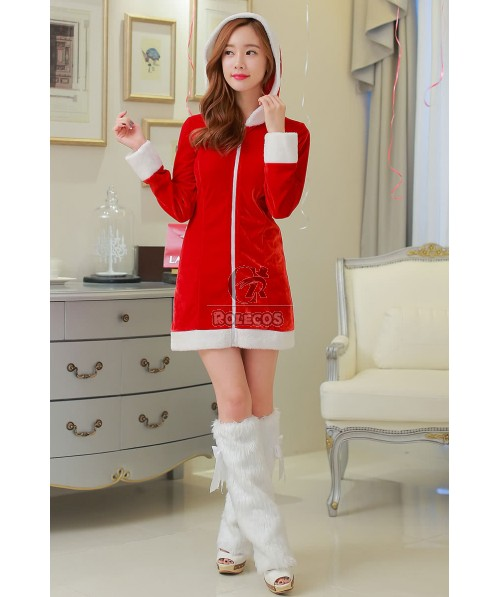 2015 Fashion Red Women's Christmas Costume Long Style Coat with Hooded