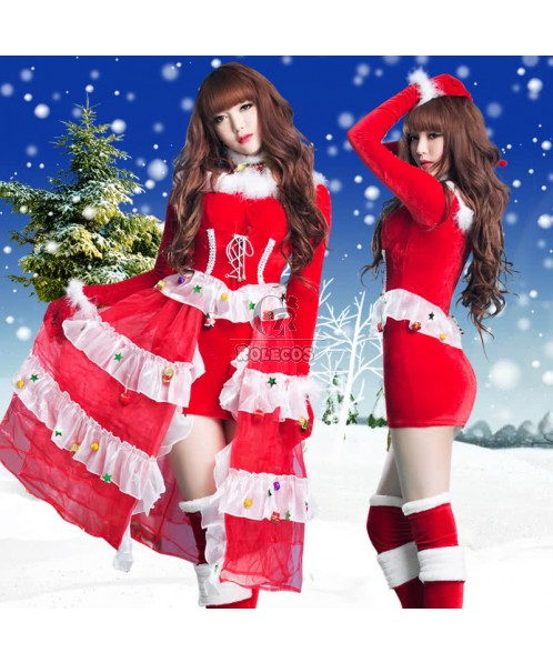 Fashion 2015 Red Women's Christmas Costume Long Sleeve Party Dress with Layers Gauze