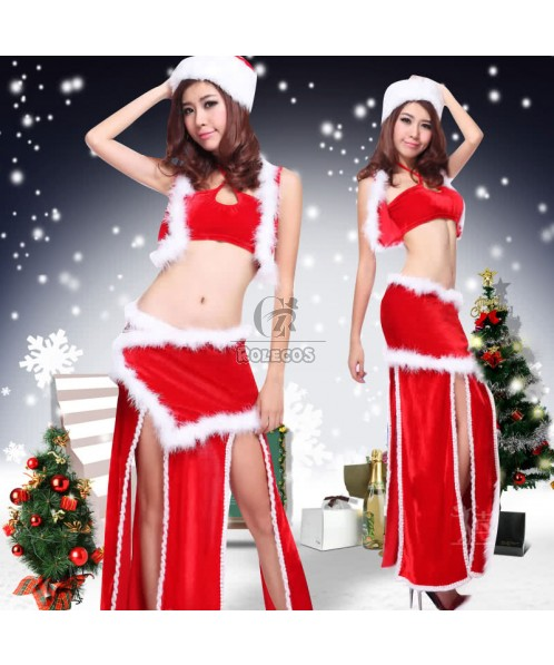 Sexy Red Women's Christmas Costume Separate Skirt Uniform with Fur
