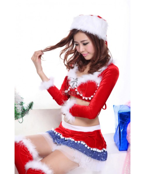 Cute Red Women's Christmas Costume Skirt Long Sleeve Separate Uniform with Hat
