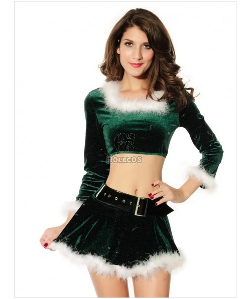 Graceful Green Women's Christmas Costume Long Sleeve Separate Skirt Suit with Belt