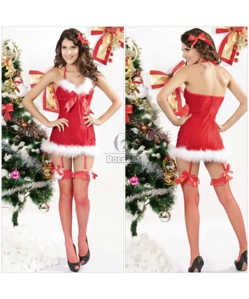 Charming Red Women's Christmas Costume Brace Fur Dress with Hairpin
