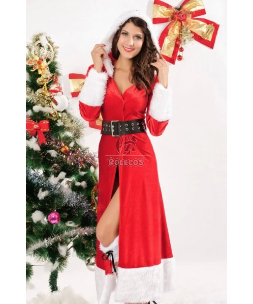 Charming Red Woman's Christmas Costume Cardigan Hooded Long Dress