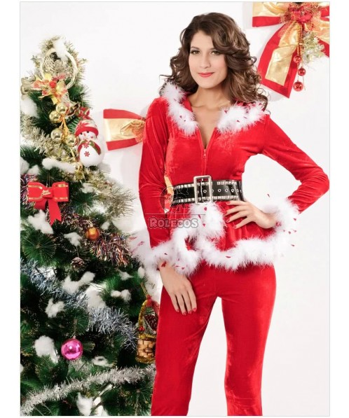 Fashion 2015 Red Woman's Christmas Costume Long Sleeve Tops and Pants 3 Pieces Suit