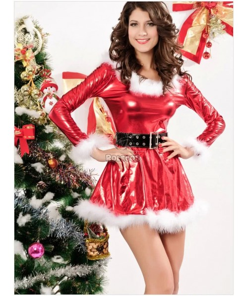 Elegant Red Woman's Christmas Costume Hooded Long Sleeve PU Dress with Belt