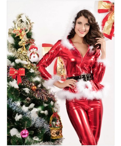 Sexy Red Woman's Christmas Costume Hooded V-neck PU Tops Suit with Belt