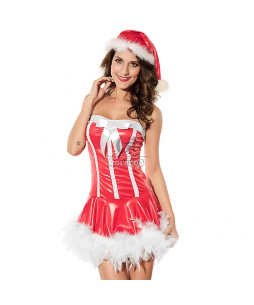 Christmas Costumes Mrs Claus Off Shoulder Dress with Hat