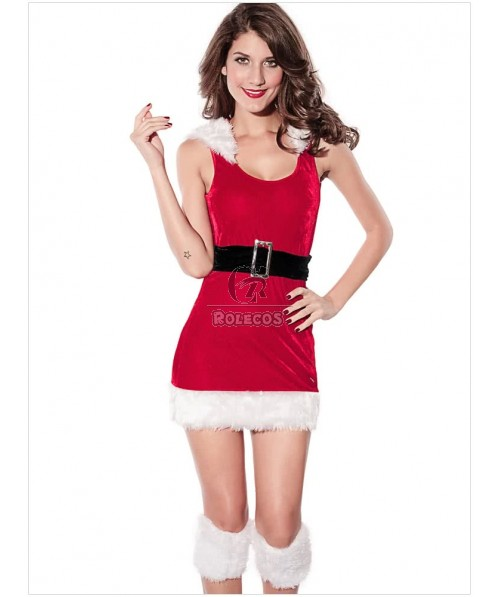 Fashion Red Woman's Christmas Costume Hooded Backless Dress