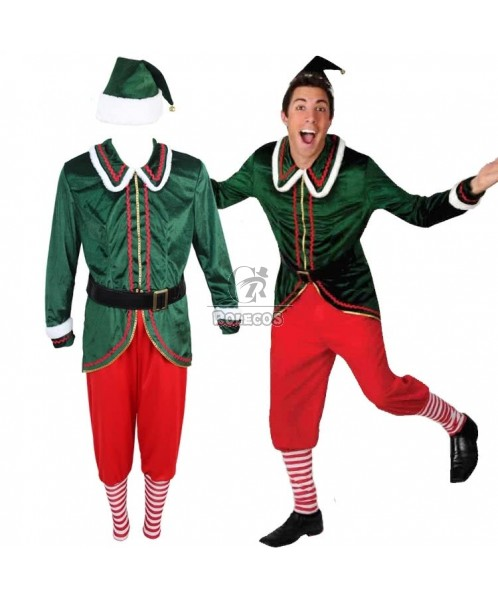 Handsome Green Man's Christmas Party Costume Elves Clothing with Hat