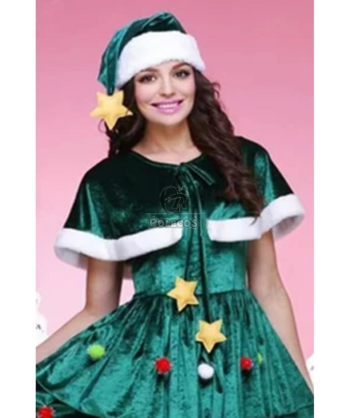 Green Christmas costumes xmas tree party dress with some decorations