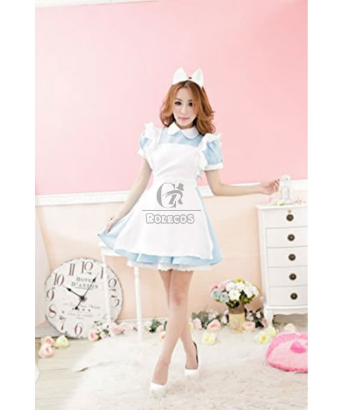 Blue Sexy Lingerie French Maid Costumes Waitress Outfit  Cosplay Dress