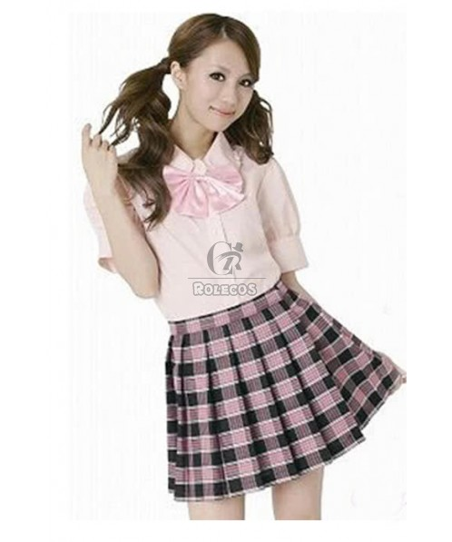 Japanese Pure Pretty Pink Plaid High School Girls Cosplay Costumes