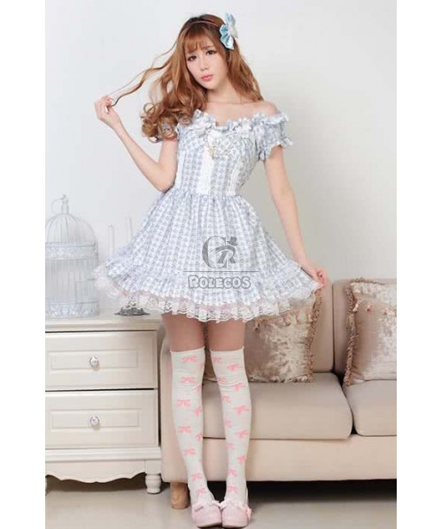 beautiful girl Lolita dress British latticed uniform style linen quadrille skirt