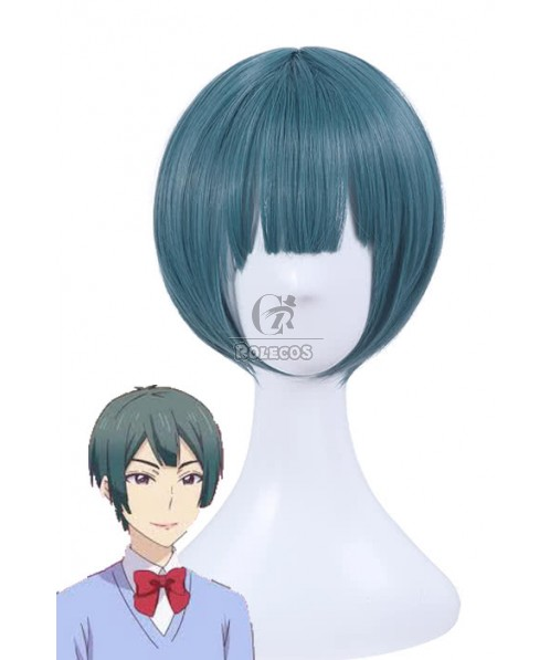 Kiss Him, Not Me Shima Nishina Blue Mixed Green Short Synthetic Cosplay Wigs ML244