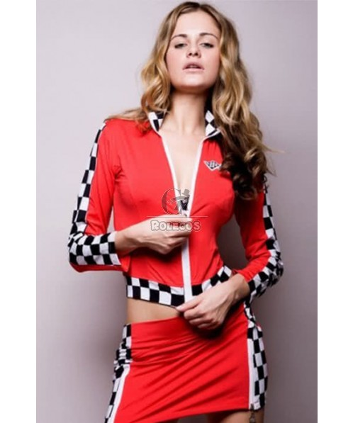 Red Racer Girl Cosplay Costume Car Driver Suit For Sexy Women