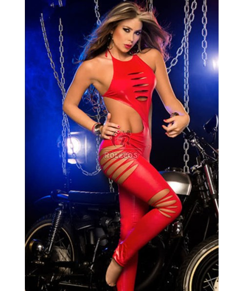 Red And Black Racer Girl Cosplay Costume Car Driver Suit For Sexy Women
