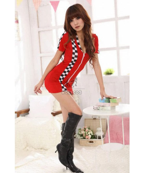 Racer Girl Cosplay Costume Red Dress Car Driver Suit For Sexy Women