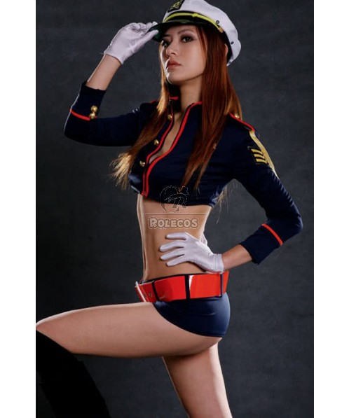 Sexy Girl Racer Long Sleeve And Dark Blue Shorts Cosplay Costume