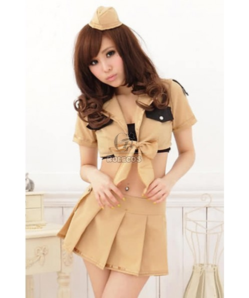 Sweet Pretty Cute Students Khaki Sailor Suit Cosplay Costumes