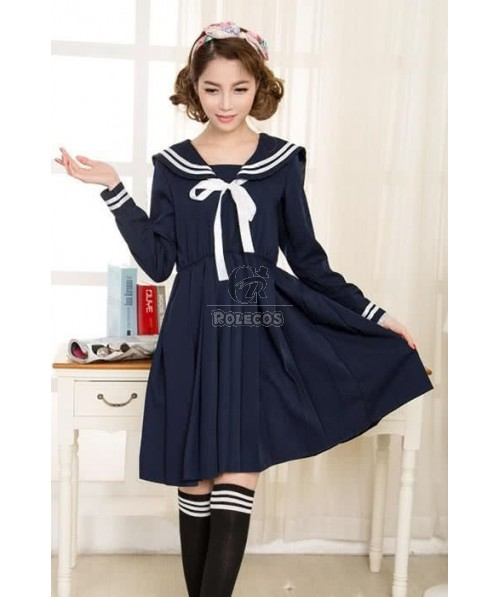 Japanese Girls Sailor Suit Uniforms Cosplay Costumes
