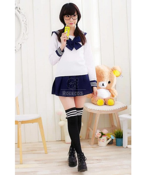 Sweet Pure Cute Students Girls Sailor Suit Cosplay Costumes