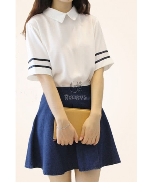 Super Pure Cute Students Sailor Suit Cosplay Costumes