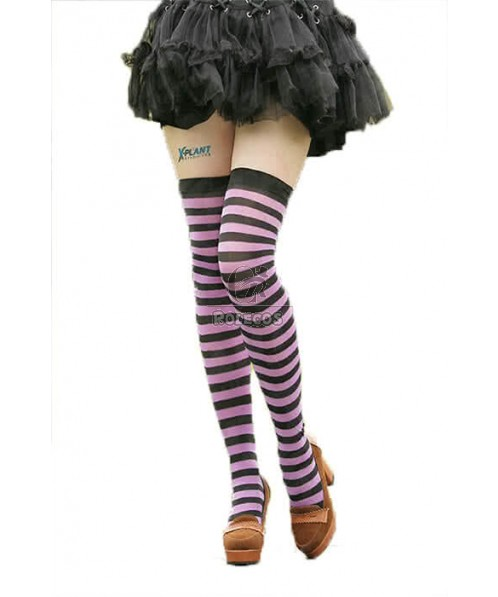 Purple Long Striped Stockings Woman Cosplay Accessories