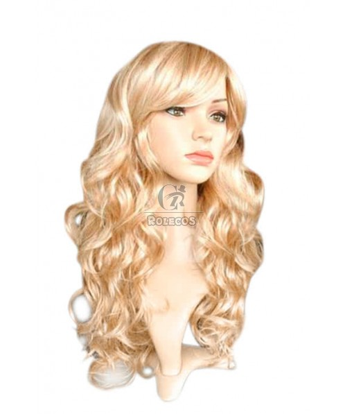 Mid Fashion Wig Blonde Mix Gold Women Wavy Hair