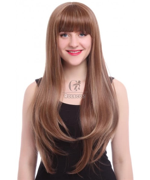 New Arrival 60cm  Long Fashion Wig  MIX Blonde and Brown Straight Women Hair