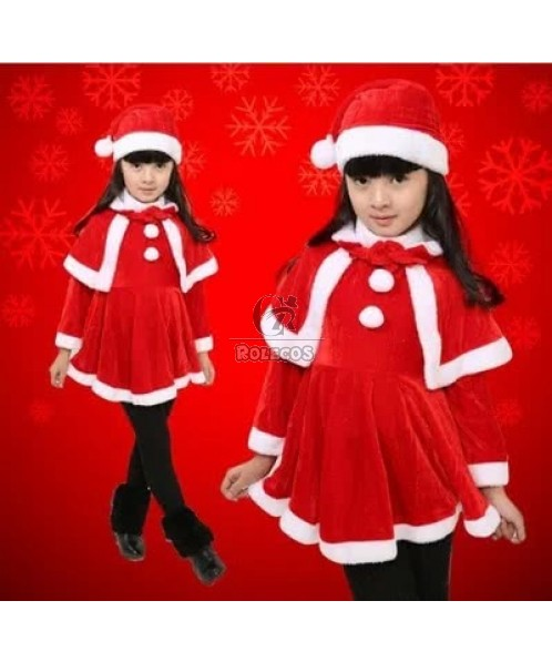 New Style Red Children Christmas Costume with Red Cape