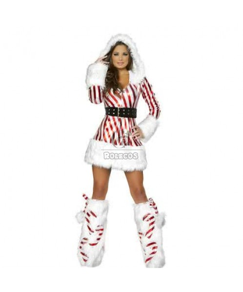 Red and white striated christmas costume dress a pair socks