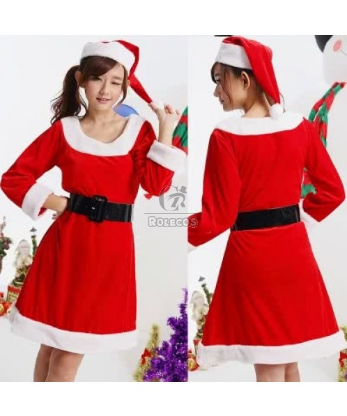 Long sleeve Christmas costume party dress for females xmas gift