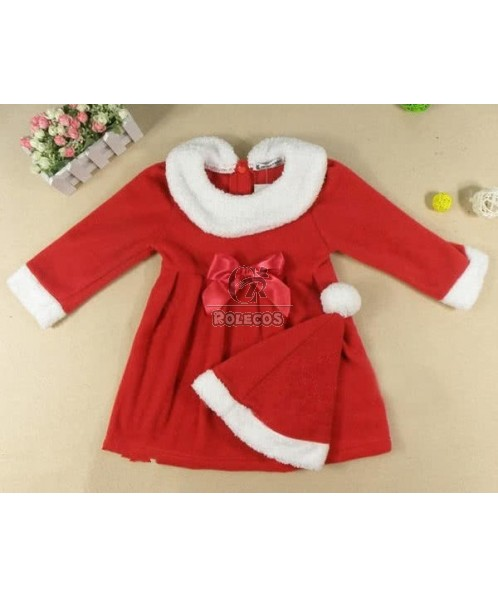 Cute Red Children Christmas Costume with Lace Bowknot