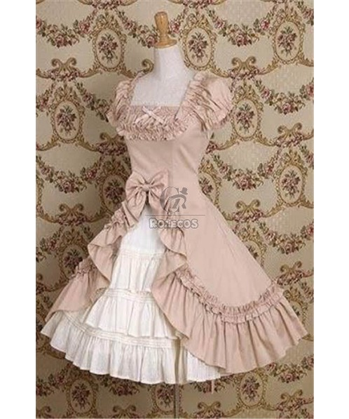 Two Colors Lolita Princess Dress Vintage Gothic Short sleeves for summer