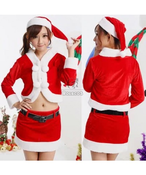 Hot selling Christmas clothes red dress students costume split stage clothes