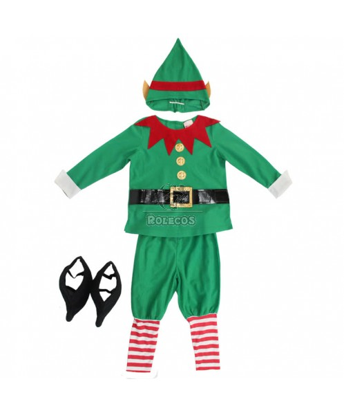 Green Children Christmas Costume with Red Gear Collar Elf  Suit