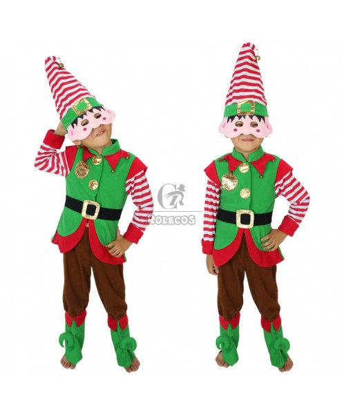 New Style Green Children Christmas Costume with Red and White Striped Hat