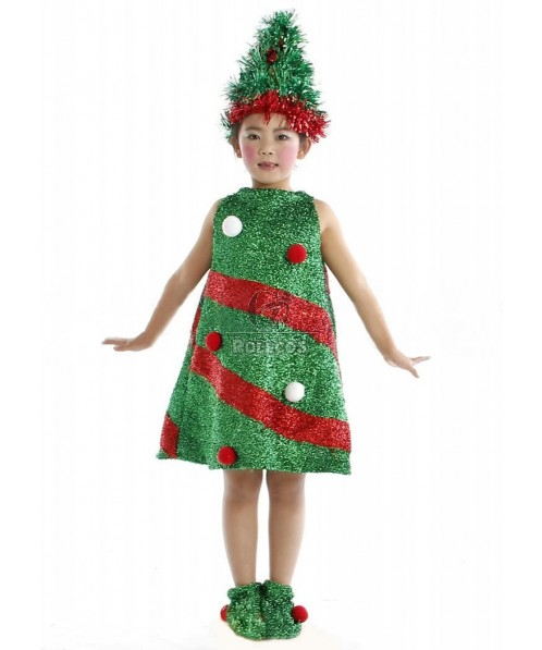 Big Tree Children Christmas Costume with Red and White Snowball